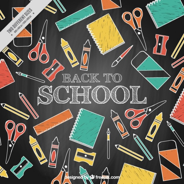 download vector chalkboard background with hand drawn materials
