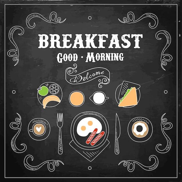 Chalkboard breakfast menu. Premium Vector