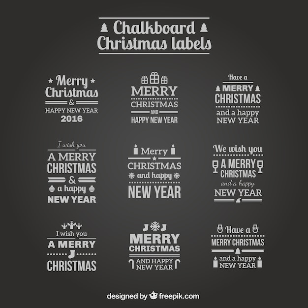 Chalkboard christmas labels Free Vector