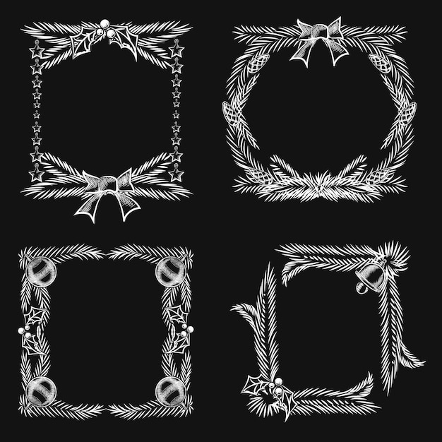 Chalkboard christmas ornament frames in square and round style. Free Vector