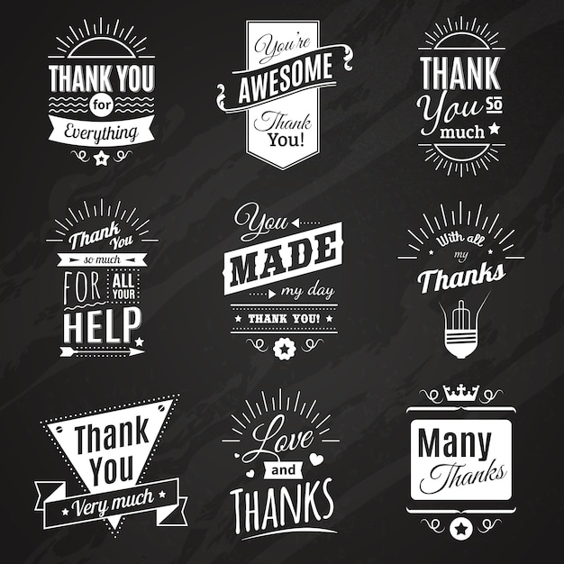 Коллекция классной доски из девяти винтажных знаков благодарности, выполненных в разном стиле шрифта Бесплатные векторы