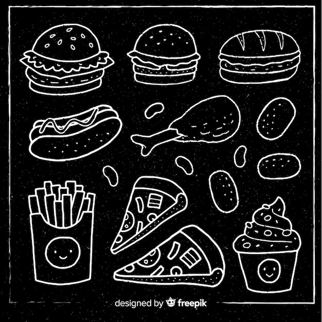 Chalkboard fast food background Free Vector