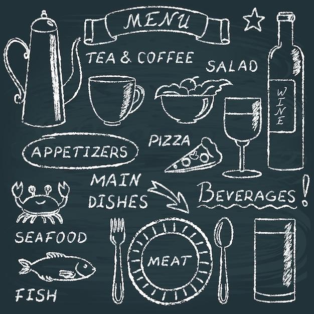Chalkboard menu elements set Premium Vector