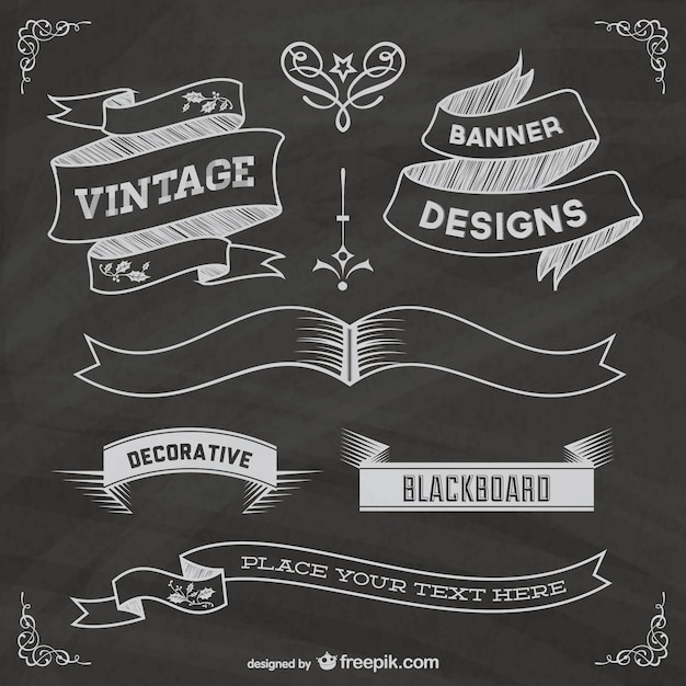 chalkboard ribbons vector free download