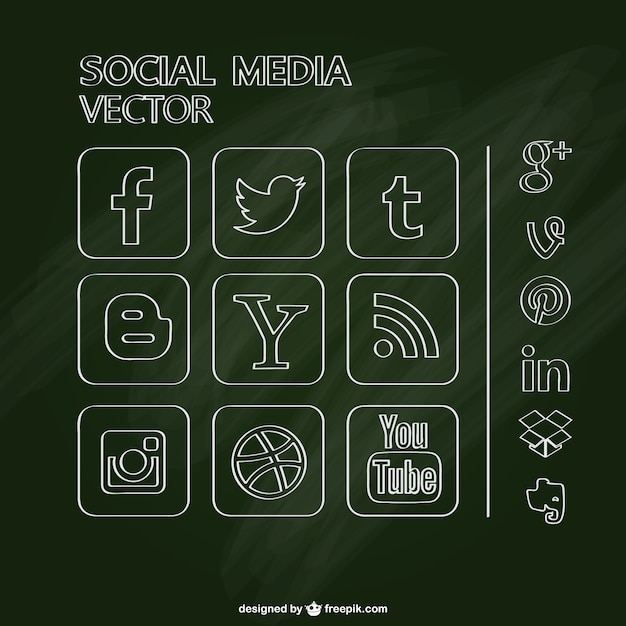 Chalkboard social media icons set Free Vector