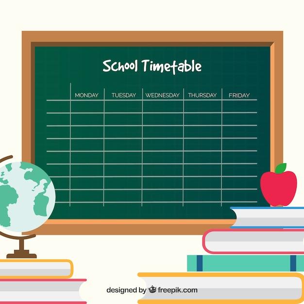 Chalkboard style school timetable template