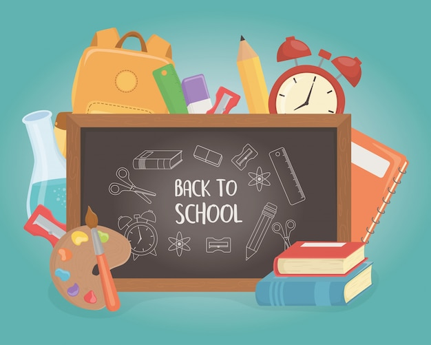 Chalkboard and supplies back to school Free Vector