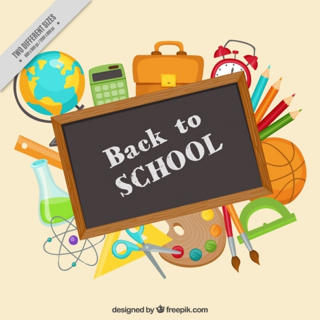 Chalkboard surrounded by school supplies Free Vector