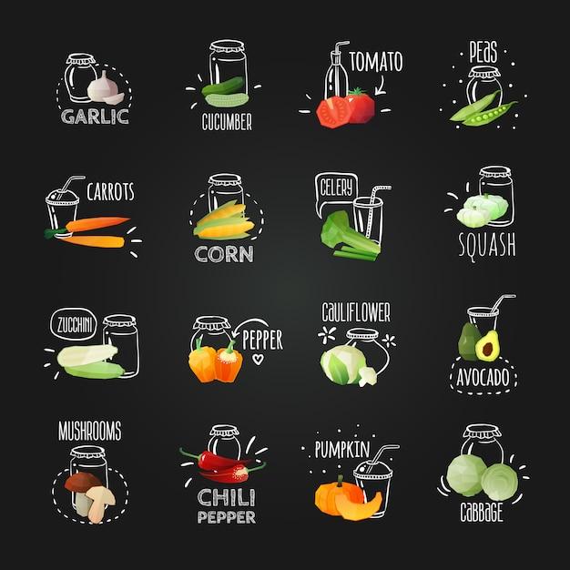 Chalkboard vegetables emblem set Free Vector