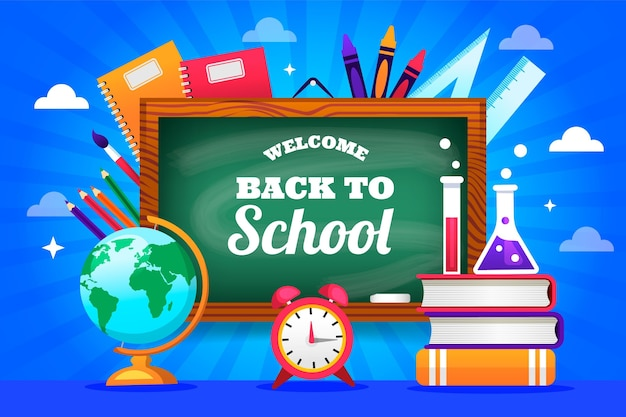 Chalkboard with back to school lettering background Free Vector