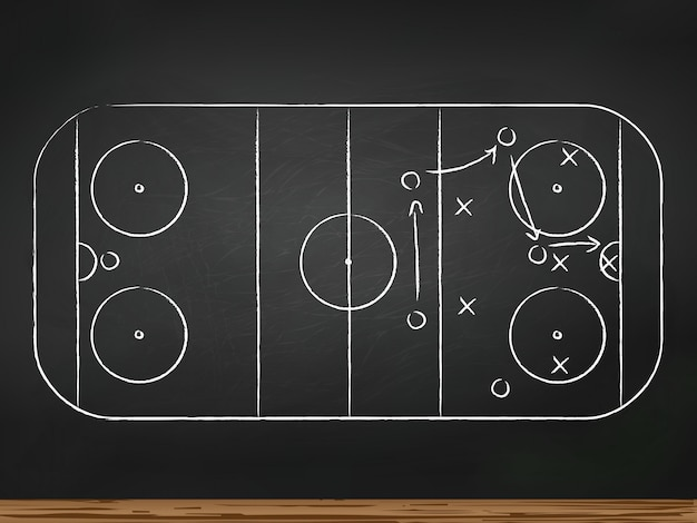 Chalkboard with hockey game tactic. vector illustration Premium Vector