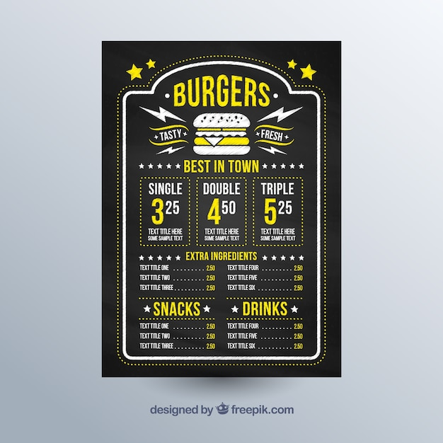 Chalkboard with menu template and yellow details Free Vector