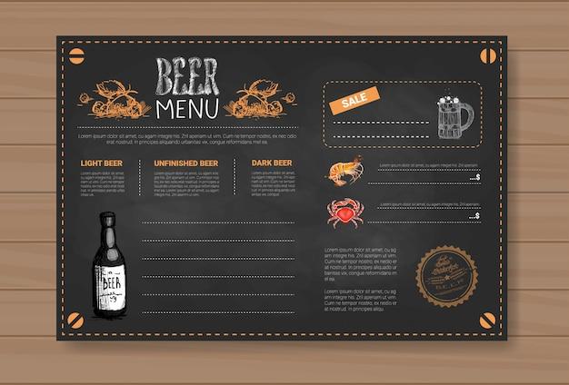 Пиво и морепродукты дизайн меню ресторана кафе паб chalked Premium векторы