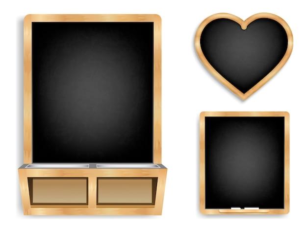 Chalky black boards background  set Premium Vector