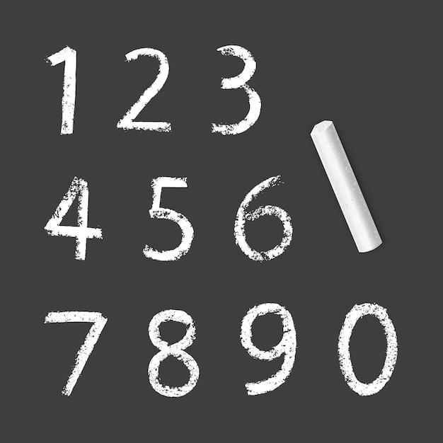 Меловые числа от одного до нуля, текстура мела на темном фоне Premium векторы