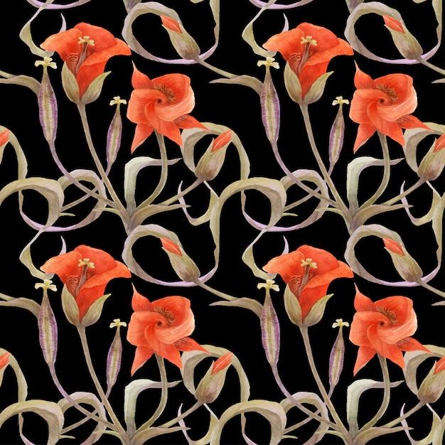 オレンジ色のchalocortusとシームレスな花柄 Premiumベクター