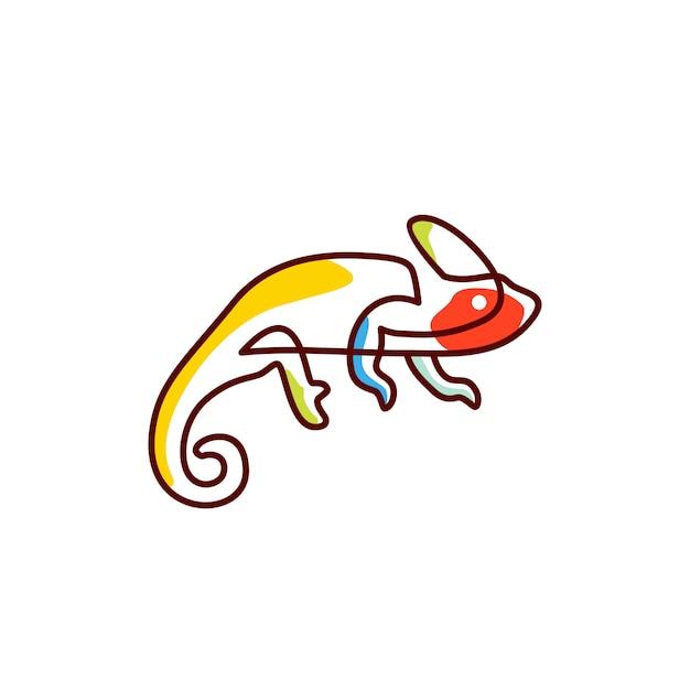 Chameleon logo vector icon illustration Premium Vector