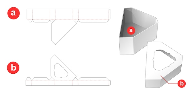 Chamfered triangular shaped gift box and lid which has window top die cut template Premium Vector