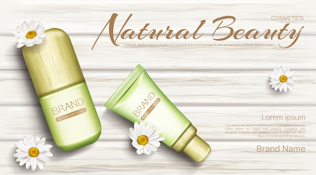 Chamomile eco cosmetics bottles  banner Free Vector