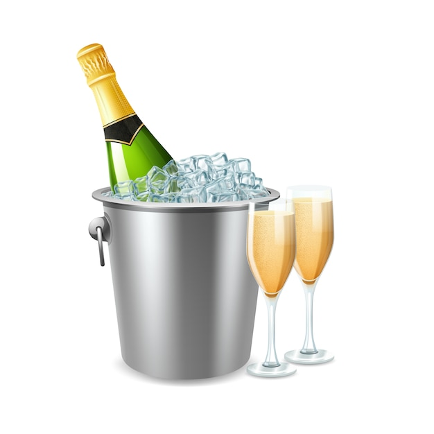 Champagne bottle in ice bucket and two full glasses realistic Free Vector