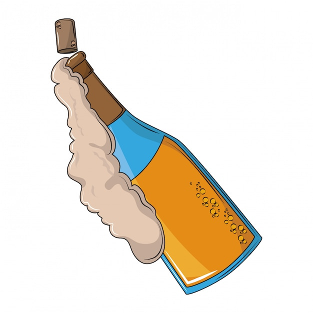 Champagne bottle open with foam Premium Vector