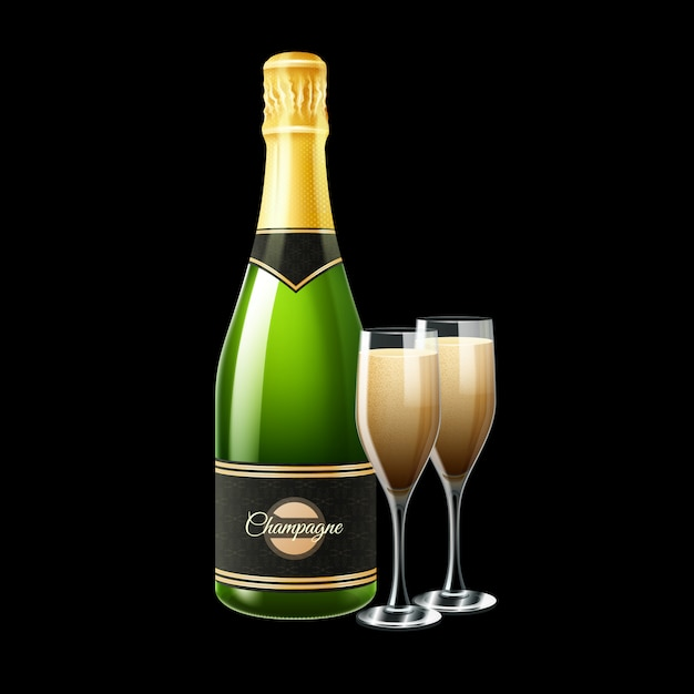Champagne bottle and two glasses on black background Free Vector
