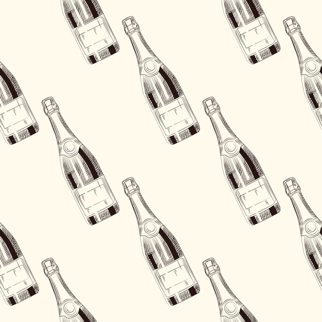 Champagne bottles seamless pattern Premium Vector