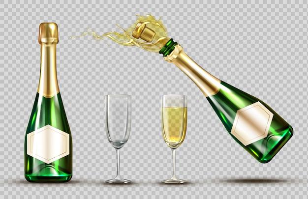 シャンパン爆発ボトルとワイングラスセット 無料ベクター