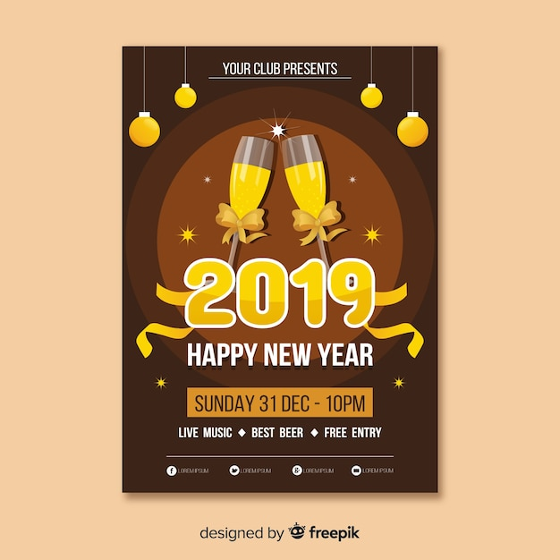 champagne glasses new year poster template free vector