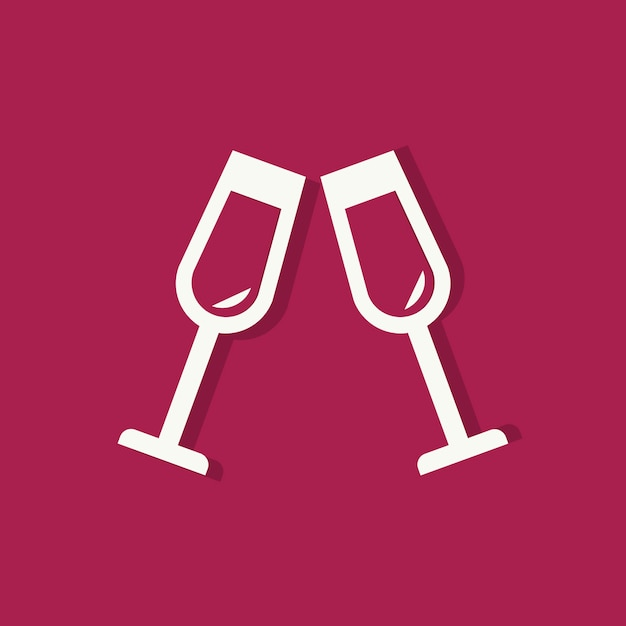 Champagne glasses valentines day icon Free Vector