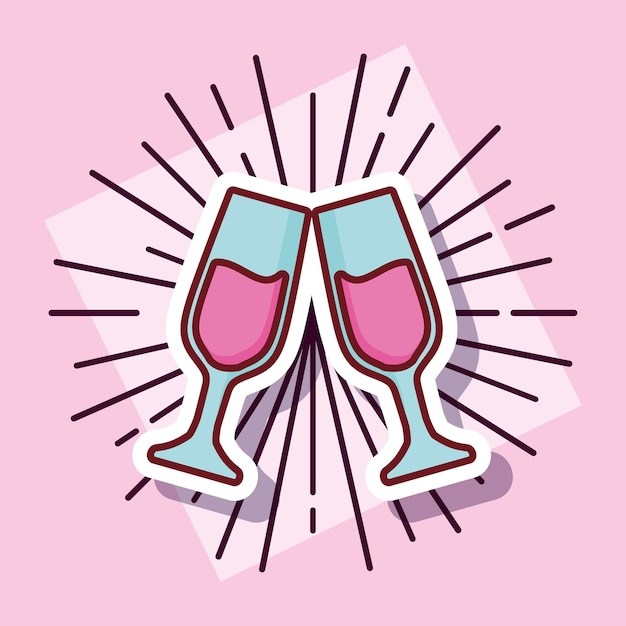Champagne toast cups cartoon style Premium Vector