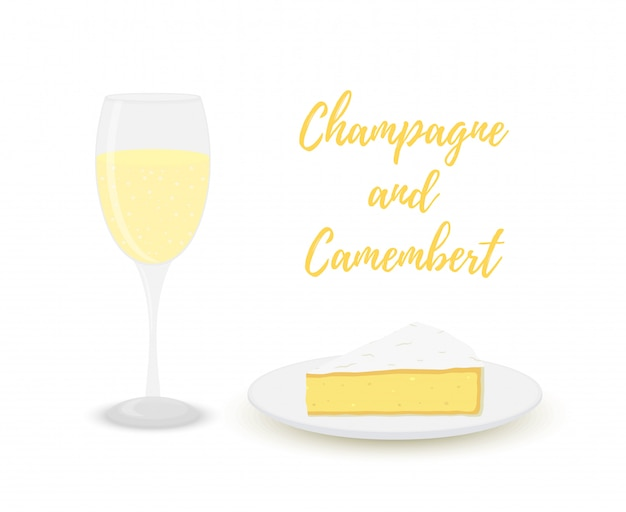 Champagne with camembert, glass with alcohol and dairy product. Premium Vector