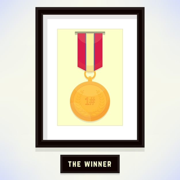 Champion Badge medal in a Frame for Award Template Vector | Premium ...