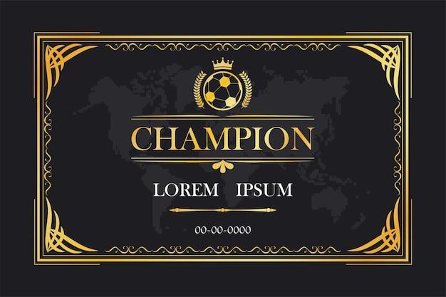 チャンピオン認定カードフレームテンプレートヴィンテージレトロラグジュアリー Premiumベクター