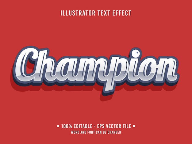 Champion editable text effect metallic style with silver color Premium Vector