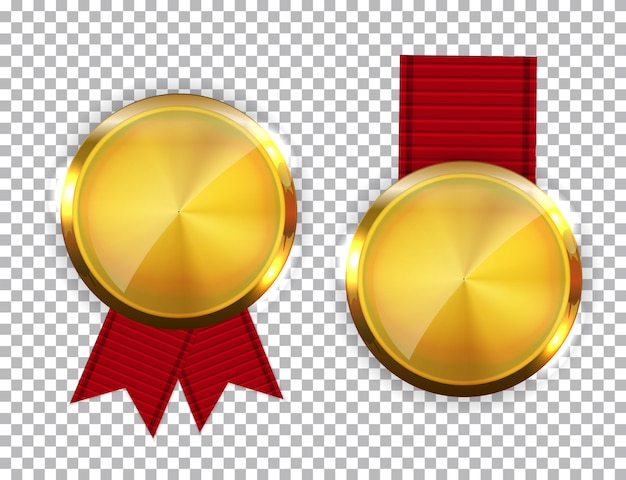 Champion gold medal with red ribbon. icon sign of first place isolated Premium Vector