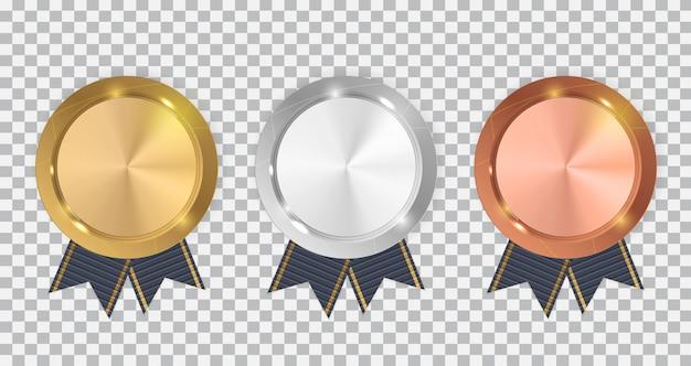 블루 리본이 달린 챔피언 금은, 동메달. 프리미엄 벡터