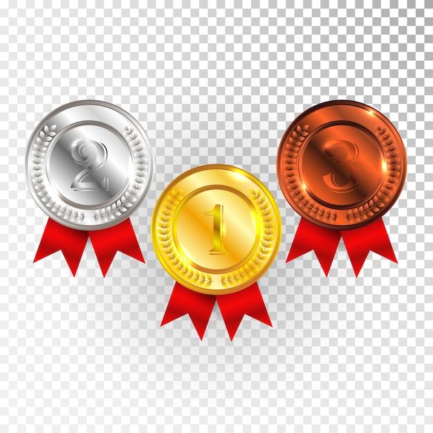 빨간 리본 아이콘 기호 첫 번째, 두 번째 및 세 번째 장소 컬렉션 집합 투명 배경에 고립 된 챔피언 골드, 실버 및 브론즈 메달. 프리미엄 벡터
