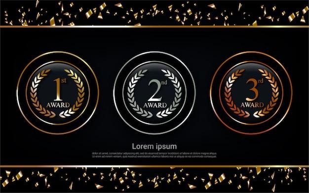 Champion gold, silver and bronze award set  medal. Premium Vector