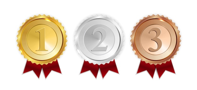 Champion gold, silver and bronze medal with red ribbon icon sign first, second and third place collection set isolated Premium Vector