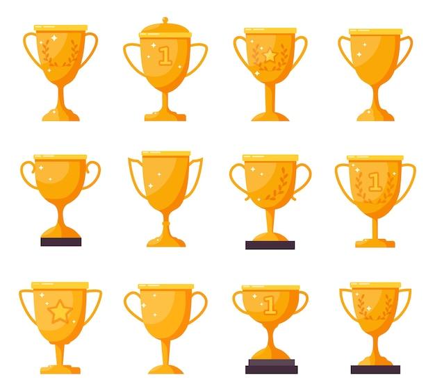 챔피언 황금 컵. 금 우승자 트로피 받침, 업적 상 컵. 프리미엄 벡터