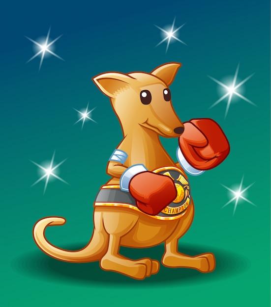 Champion kangaroo character. Premium Vector
