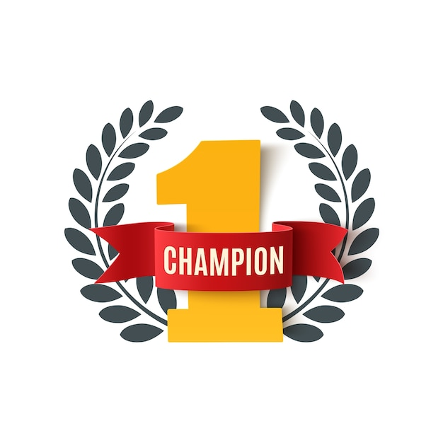 Champion, number one background with red ribbon and olive branch on white. poster or brochure template.  illustration. Premium Vector