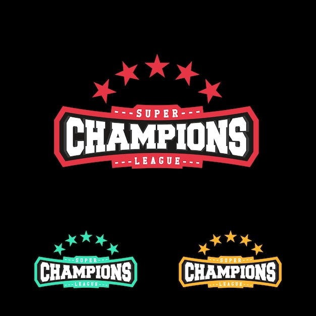 Champion sports league logo emblemバッジグラフィック・タイポグラフィー Premiumベクター