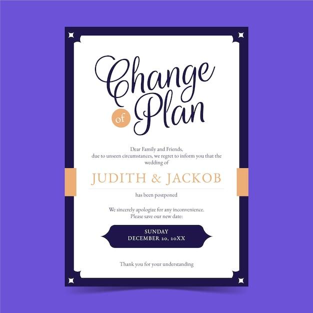 Изменить план типографской отложенной свадебной открытки Бесплатные векторы