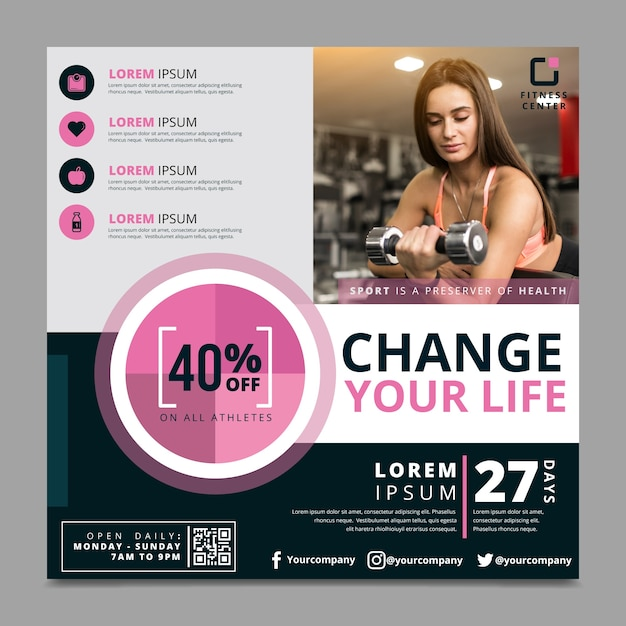 Change your life sport flyer template Free Vector