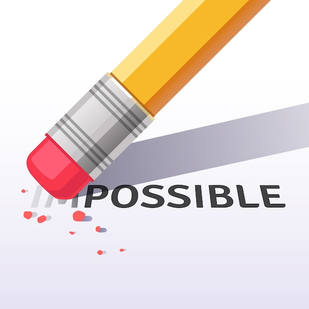 Changing word impossible to possible with eraser Free Vector