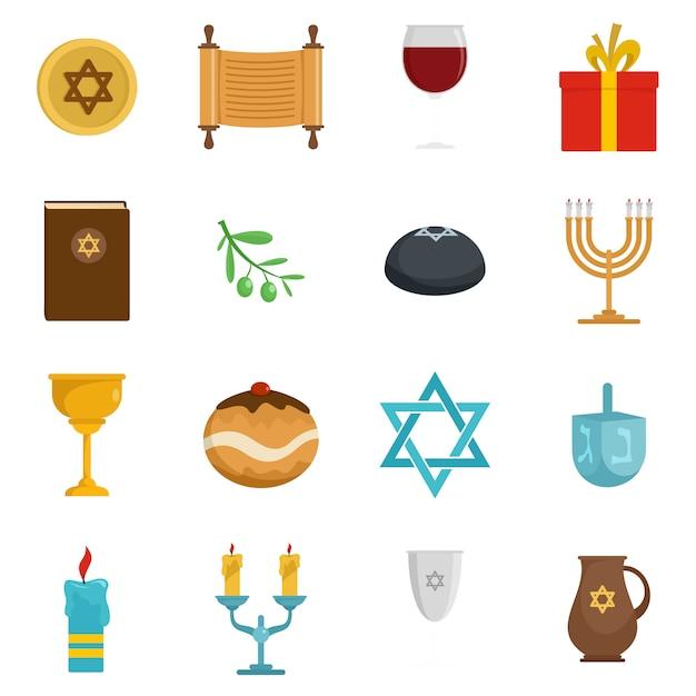 Chanukah jewish holiday icons set Premium Vector