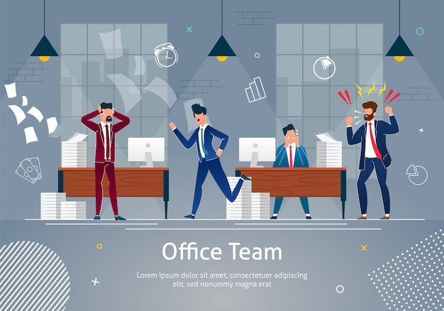 Chaos at workplace. office team in panic. Premium Vector