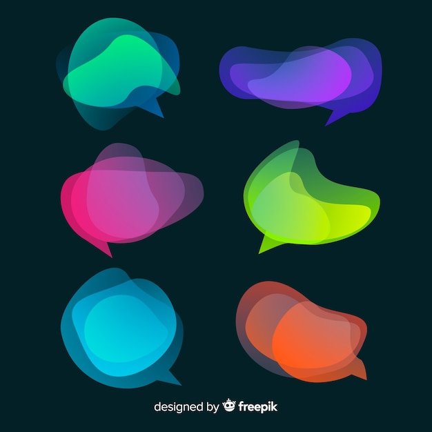 Chaotic colorful speech bubbles on dark background Free Vector